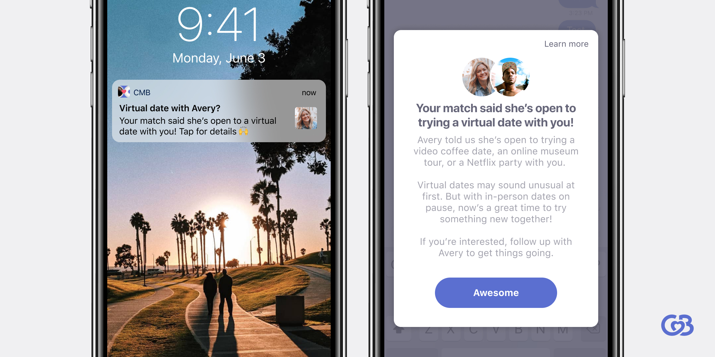 Photo of App using Virtual Date feature