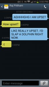 Texting grumpily