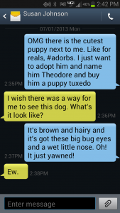 Texting about a dog