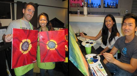 Paintnite; first date idea; couple; creative painting