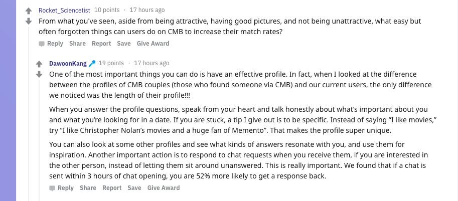 Reddit: increase match rates